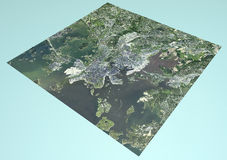 Satellite View of Helsinki, Finland, map, section 3d Royalty Free Stock Photo
