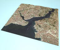 Satellite view of Istanbul, Turkey, map, section 3d Stock Photography