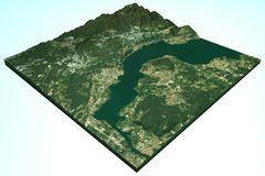 Satellite view of Lake Maggiore, Arona, Sesto Calende Royalty Free Stock Photo