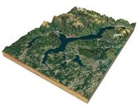 Satellite view of Lake Maggiore, map, mountains and reliefs, 3d section. 3d rendering. Lombardy, Piedmont. Italy. Elements of this image are furnished by NASA royalty free illustration