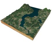 Satellite view of Lake Maggiore, map, mountains and reliefs, 3d section. 3d rendering. Lombardy, Piedmont. Italy. Elements of this image are furnished by NASA stock illustration