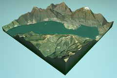 Satellite view of Lake Maggiore, this is the part of the Swiss Locarno Royalty Free Stock Photo