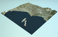 Satellite View of Marseille, France, map, section 3d Stock Photography