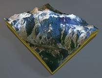 Satellite view of Mount Blanc Royalty Free Stock Photo