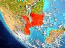 Satellite view of Mozambique in red. Mozambique from orbit of planet Earth with highly detailed surface textures. 3D illustration. Elements of this image Stock Images