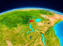 Rwanda from orbit. Satellite view of Rwanda highlighted in red on planet Earth. 3D illustration. Elements of this image furnished by NASA Stock Photography