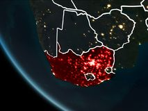 Satellite view of South Africa at night. Satellite view of South Africa highlighted in red on planet Earth at night with borderlines and city lights. 3D Stock Photo