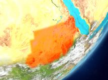 Sudan from space. Satellite view of Sudan highlighted in red on planet Earth with clouds. 3D illustration. Elements of this image furnished by NASA Stock Photos