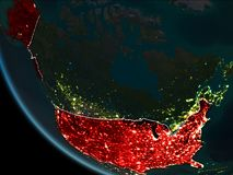 Satellite view of USA at night. Satellite view of USA highlighted in red on planet Earth at night with borderlines and city lights. 3D illustration. Elements of Stock Photo