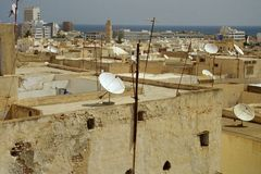 Satellite village. This is a tunisia village with a ocean of satellite antenna Royalty Free Stock Photo
