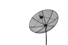 Satellite white background. Black satellite on white background Royalty Free Stock Photo