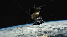 Satellitenähnliches mit der umkreisenden Planetenerde Cassini Fernmeldesatellit über Erdfliegen vorbei stock footage