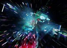 Satelliten- und Lichteffekte Stockbilder