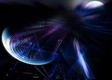 Satelliten- und Lichteffekte Stockbild