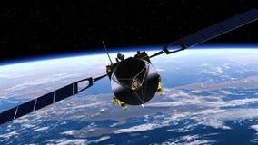 Satelliten utplacerar solpaneler vektor illustrationer