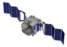 Satelliten utplacerar solpaneler Arkivbild