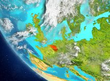 Satellitenbild von Belgien im Rot Stockfotografie