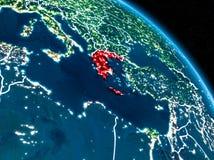 Satellitenbild von Griechenland nachts Stockfotos