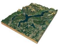 Satellitenbild von See Maggiore, von Karte, von Bergen und von Entlastungen, Abschnitt 3d Wiedergabe 3d Lombardei, Piemont Italie