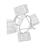 Satellitenkarikaturzauntrittentwurf Stockfoto
