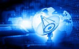 Satellitenschüssel mit globalem Lizenzfreie Stockfotos