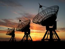 Satellitenschüsseln Stockfoto