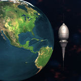 Satellitensputnik, der Erde 3d in Umlauf bringt Stockbild