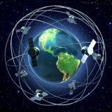 Satellites around earth. Satellites flying around earth background