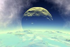 Alien planets in the open space. 3D rendering. Satellites and asteroids in space. 3D illustration vector illustration