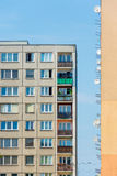 Satellites on block of flats building. Block of flats with satellites city or town lifestyle royalty free stock photo