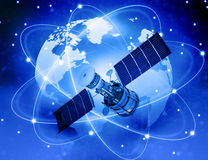 Satellites connection and  earth Royalty Free Stock Photo