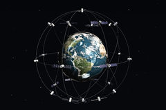 Satellites and earth Stock Photo