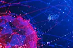 Satellites et interface virtuelle de GPS illustration de vecteur