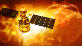 Satellites flying around earth Royalty Free Stock Photos