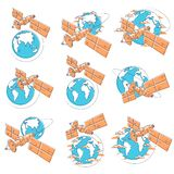 Satellites orbiting around earth, spaceflight, communication spacecraft space station with solar panels and satellite antenna. Plate. Thin line 3d vector vector illustration