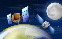 Satellites orbiting earth scene. Illustration royalty free illustration