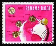 Satellites over Globe, ITU Centenary serie, circa 1966. MOSCOW, RUSSIA - AUGUST 18, 2018: A stamp printed in Panama shows Satellites over Globe, ITU Centenary royalty free stock photos