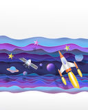 Satellites and Space rocket flying  in the universe cute paper a. Rt vector paper cut  illustration Royalty Free Stock Image