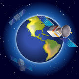 Satellites surrounding the planet Stock Photography