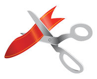 Satellitescissors cutting ribbon Stock Photo