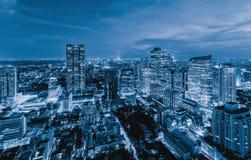Sathorn区,曼谷街市鸟瞰图  泰国 财政区和商业中心在聪明的都市城市在亚洲 库存照片