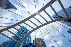 Sathorn Bridge. In the daytime sky with clouds downtown Bangkok, Thailand Royalty Free Stock Photo