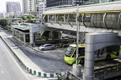 Sathorn BRT station, bus, skywalk, and wait room with air conditioner. Royalty Free Stock Image