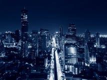 Sathorn district in Bangkok City at night, Thailand.  Royalty Free Stock Images