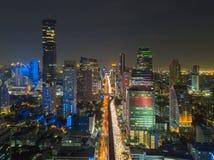 Sathorn district in Bangkok City at night, Thailand.  Stock Image