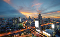 Sathorn Intersection, Downtown Bangkok, Thailand Royalty Free Stock Photography
