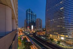 Sathorn intersection or junction with cars traffic, Bangkok Downtown, Thailand. Financial district and business area. Smart urban royalty free stock photography