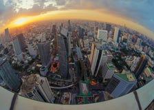 Sathorn Intersection at sunset, Bangkok city, Thailand.  Royalty Free Stock Images