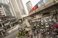 Sathorn korsning och MRT-station fotografering för bildbyråer