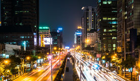 Sathorn Road at Night Stock Photography